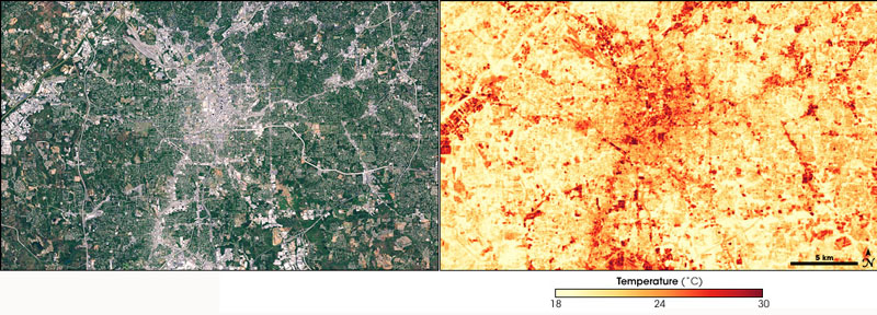 These paired satellite images, taken in 2000, illustrate the UHI in Atlanta, Georgia. The image on the left is essentially a photo, in which green areas are covered by vegetation, grey areas by built surfaces (pavement and buildings) and brownish areas by bare soil. The image on the right shows land surface temperatures (with a scale). You can see that urban development increases surface temperatures.