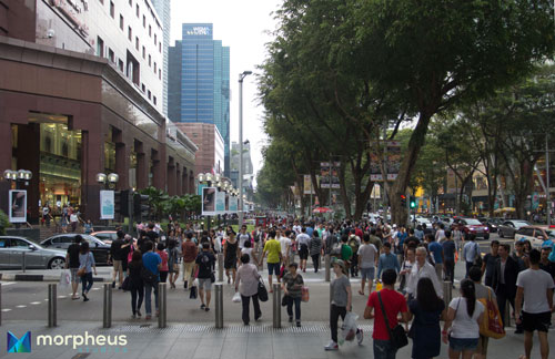 This photo was taken around mid-afternoon on an ordinary weekday, on Orchard Road, which is Singapore's most important shopping area. It is even more crowded on weekends, and the indoor spaces are typically jam-packed full of people looking to buy, buy, buy.